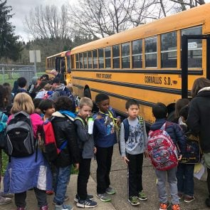 Adams students boarding buses